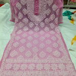 Pink Georgette Embroidered Chikan Buttas Kurtis Sharara