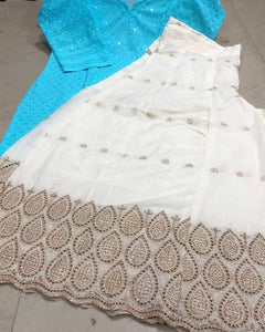 Sky Blue Cotton Chikankari Kurti And Cut Work Sharara Online