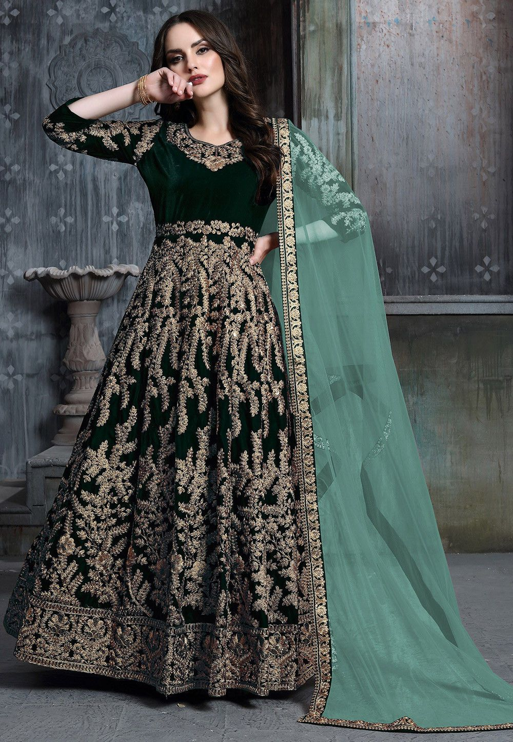 Dark Green Embroidered Velvet Abaya Style Salwar Dresses