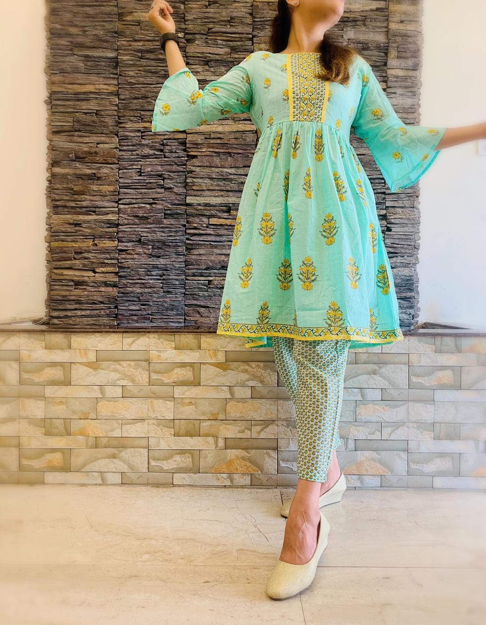 Sea Green Hand Block Cotton Peplum Kurta and Pants