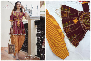 Maroon Khadi Embroidered Indian Kedia And Tulip Pant Designs