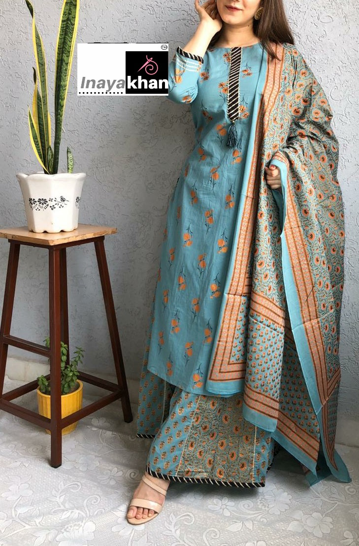 Bluish Grey Cotton Hand Block Print Latest Kurta Sharara Suits Online