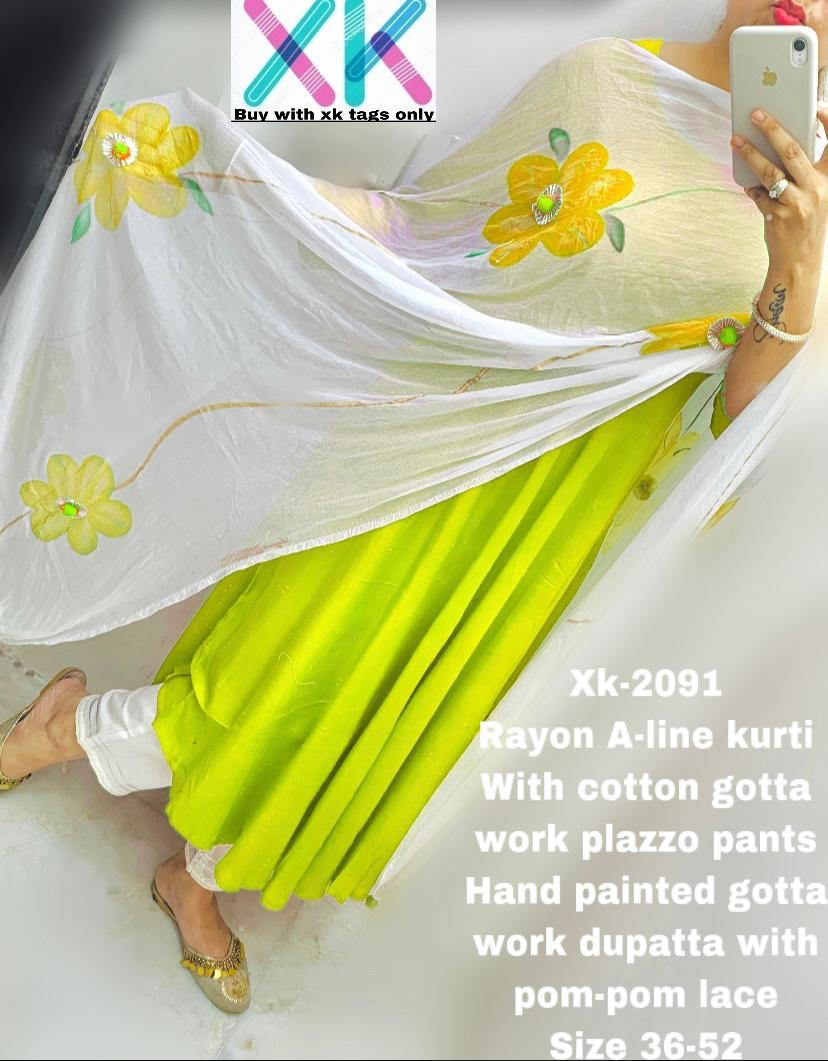 Yellow Rayon A-Line Anarkali Palazzo Indian Salwar Kurta
