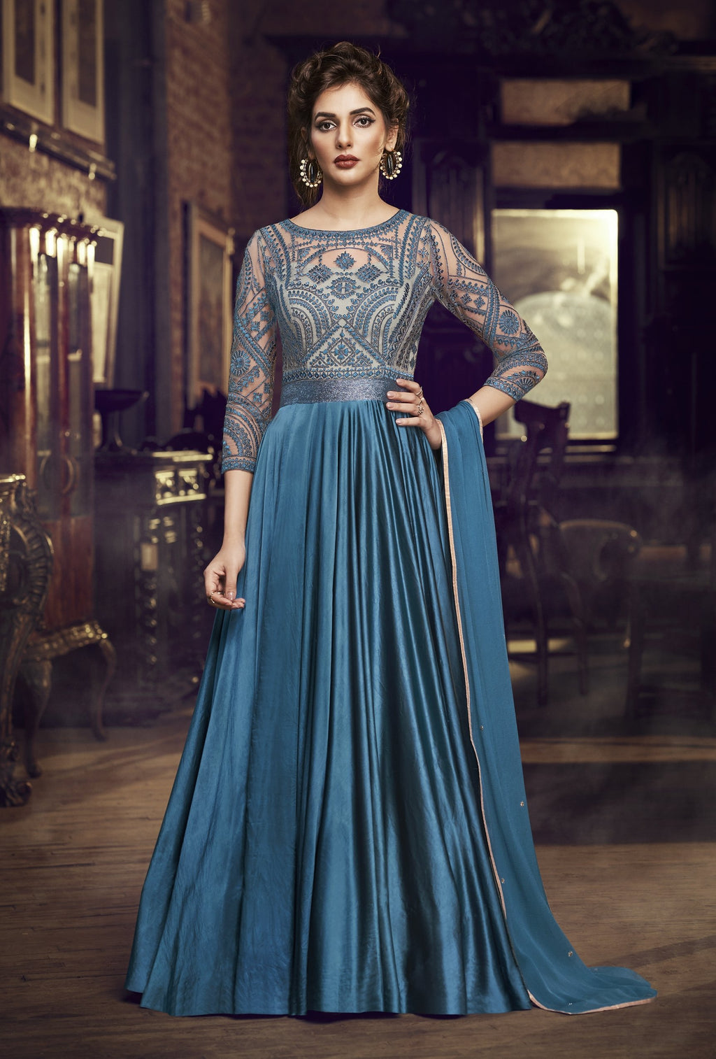 Blue Satin Modal Embroidered Latest Party Gown Online