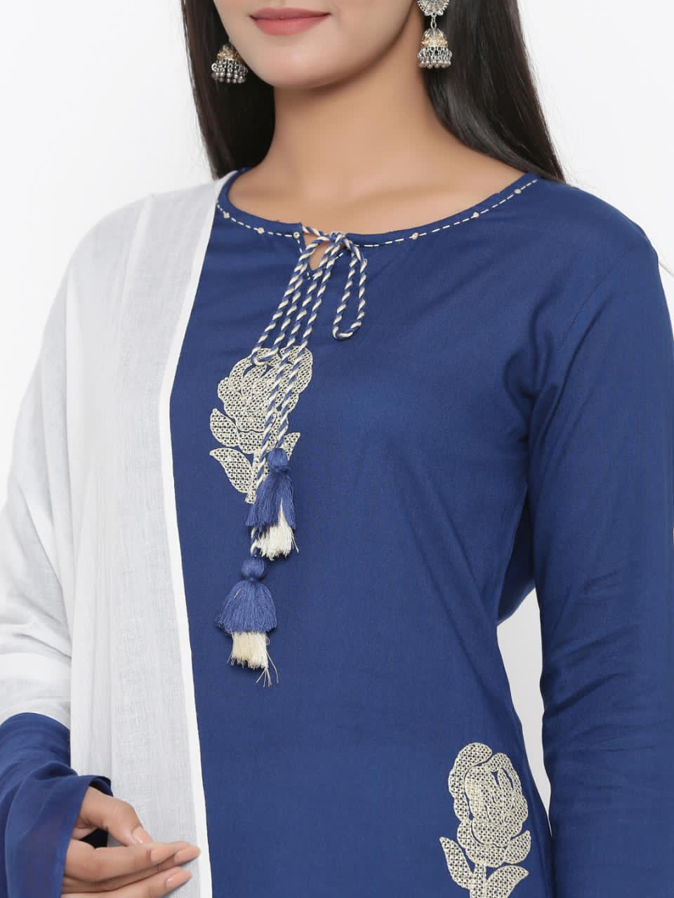 Navy Blue Embroidered Kurta With Pant And Dupatta Online Shopping