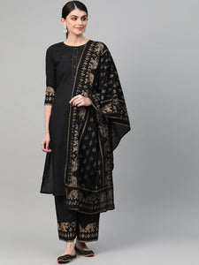 Black Jaipuri Kurta Palazzo Dupatta Set Indian Suit Designs