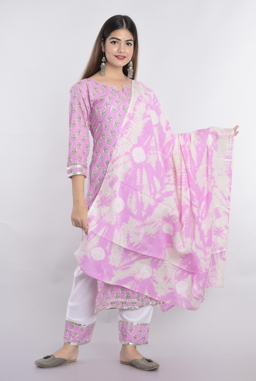 Lilac Cotton Block Print Kurti Salwar Kameez Suits Online