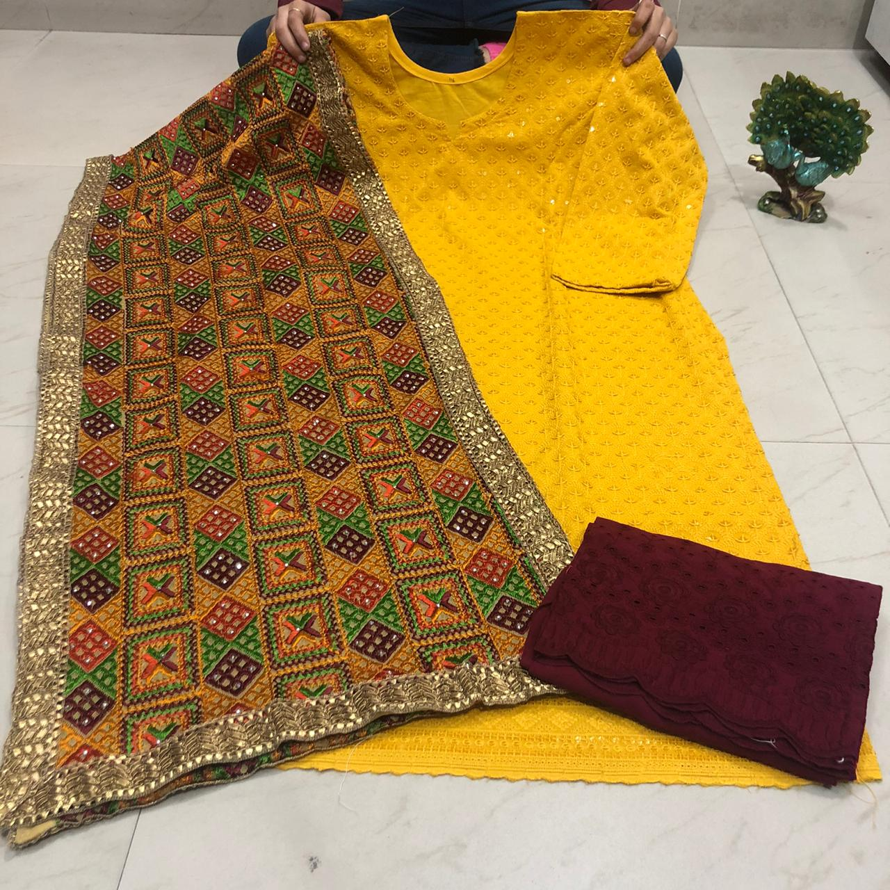 Mustard Cotton Latest Chikan Kurti Palazzo Designs With Stole Dupatta
