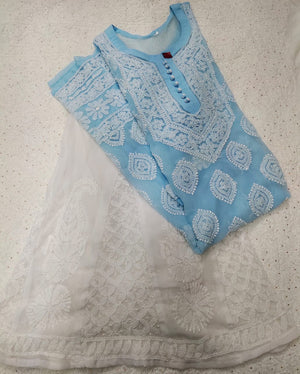 Light Blue Georgette Embroidered Chikan Kurti Salwar Suit Styles