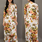 White Cotton Floral Print Latest Kurta Palazzo Suit Designs