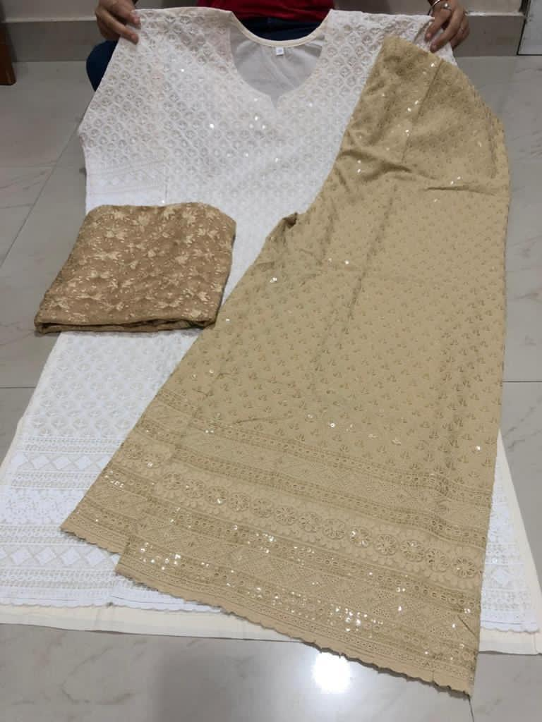 Beige and Off White Cotton Chikan Kurti Suits Shopping Online