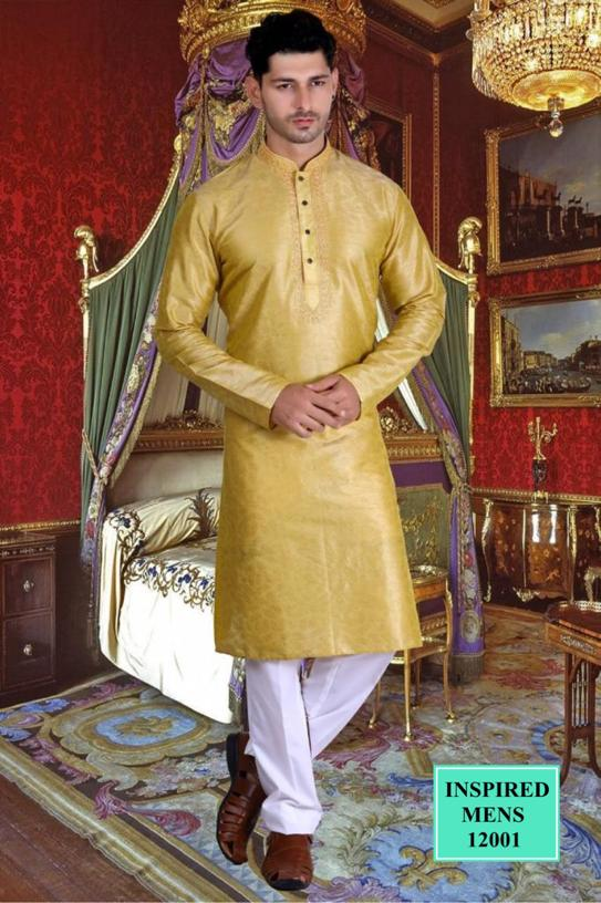 Mustard Jacquard Straight Cut Indian Men's Kurta Sets