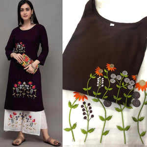 Brown Rayon Embroidered Kurti Palazzo Salwar Suits Online