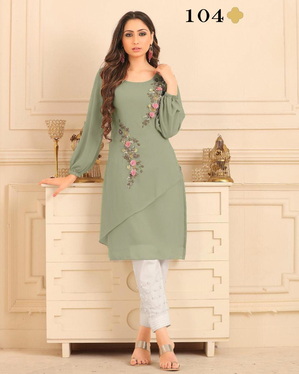 Sage Green Georgette Embroidered Kurtis Women Dresses Online