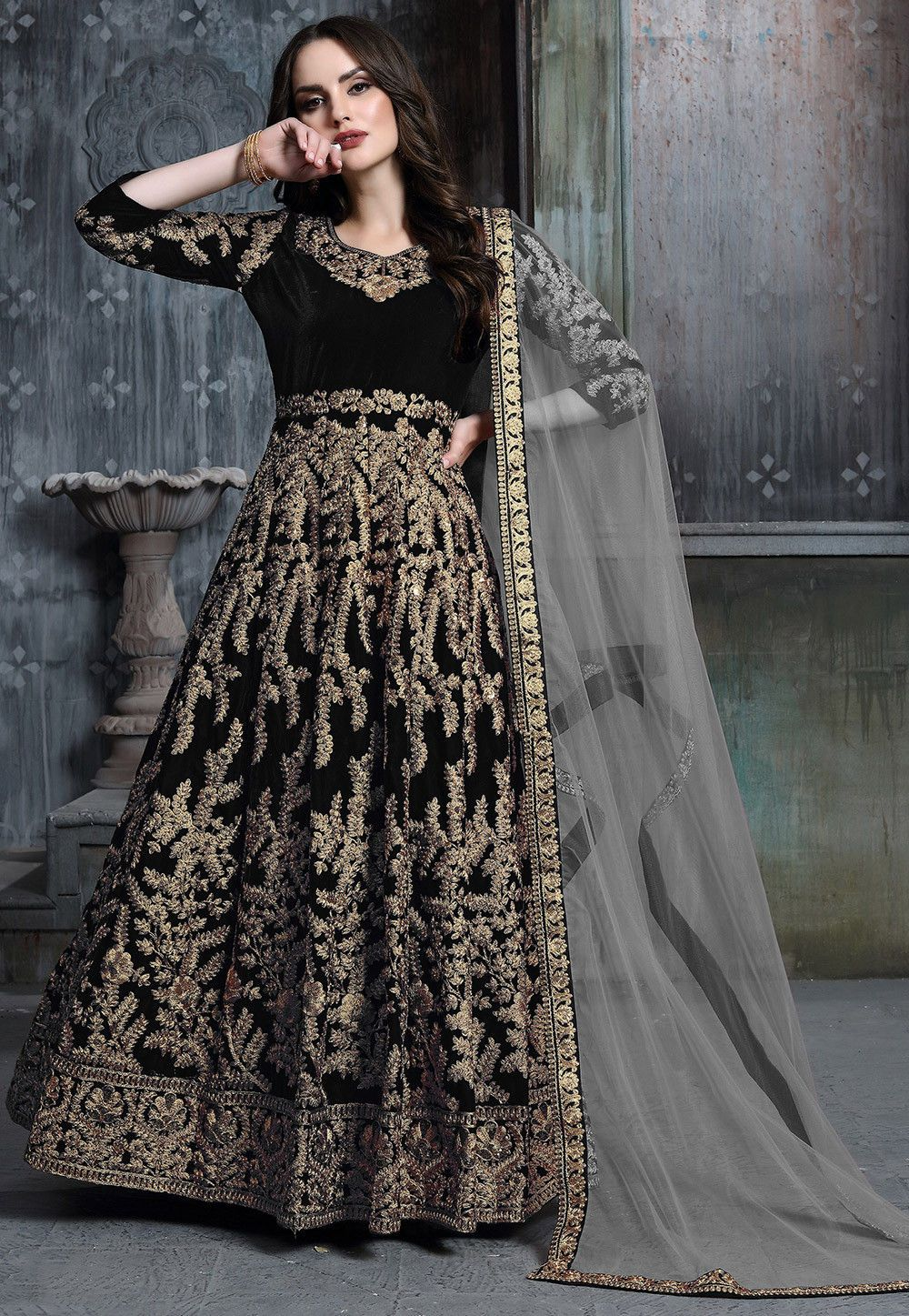 Black Embroidered Velvet Abaya Style Salwar Suit Designs