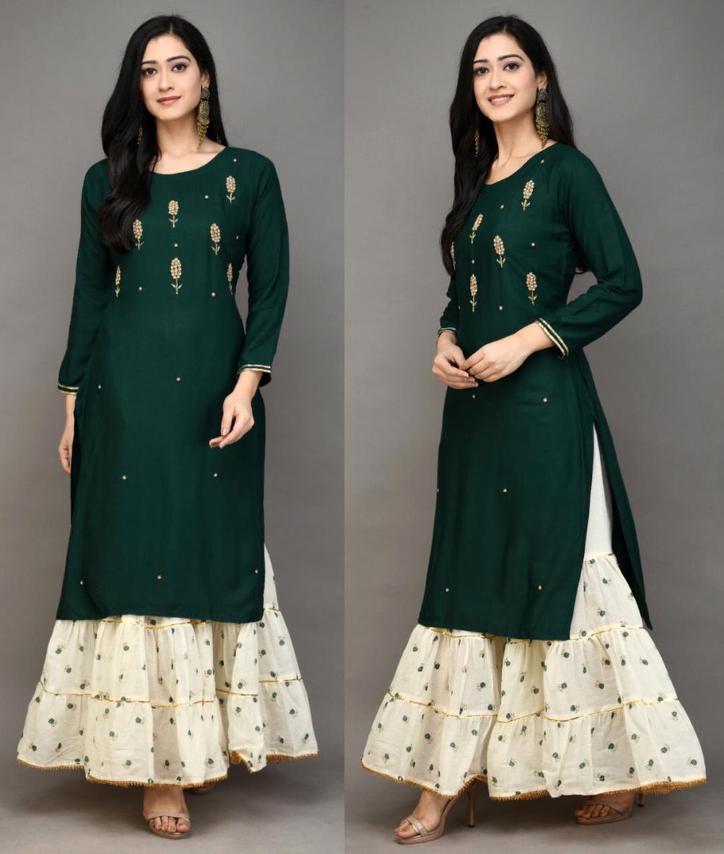 Dark Green Rayon Embroidered Kurti Palazzo Salwar Suit Design
