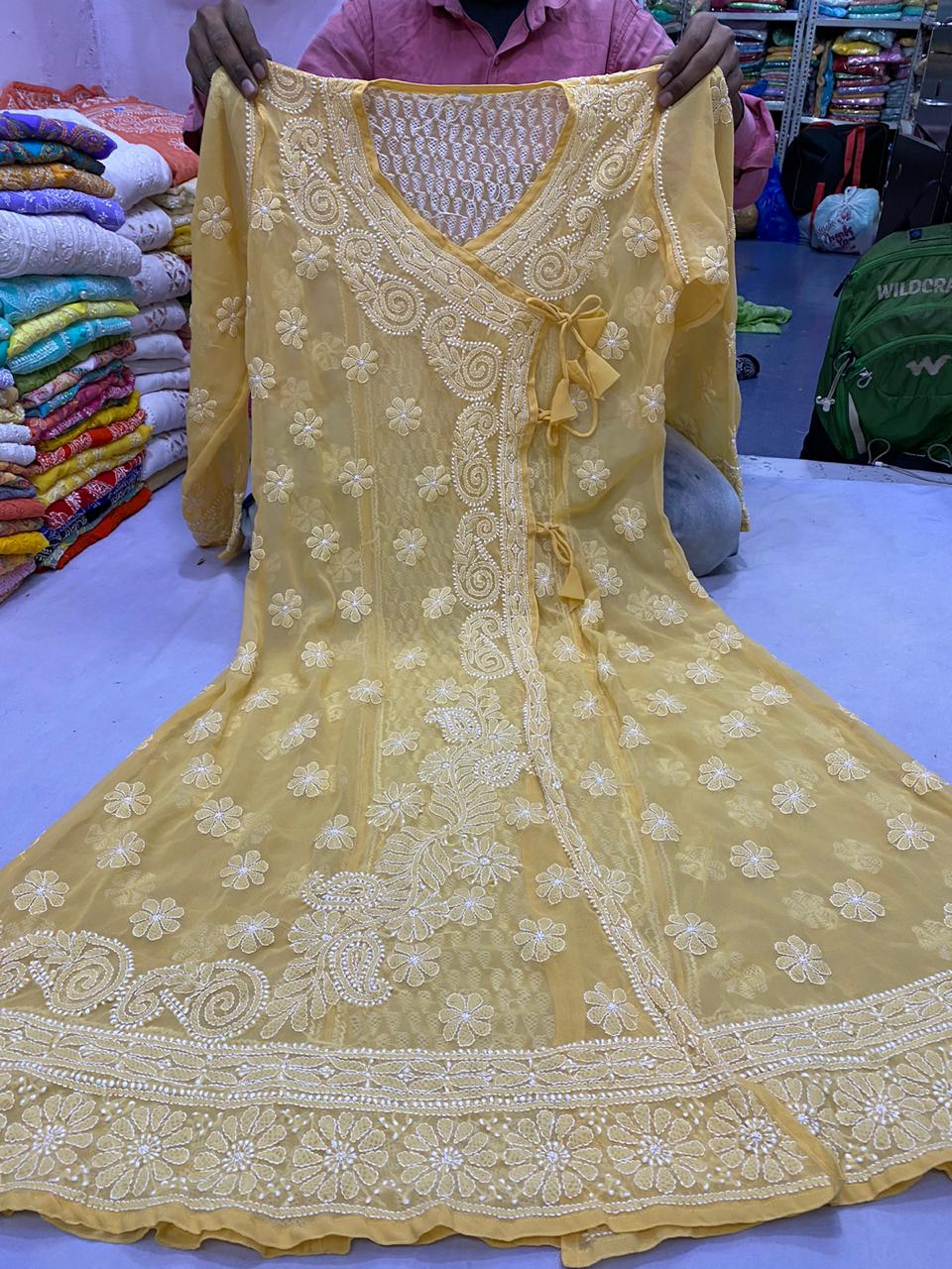 Beige Georgette Angrakha Anarkali Kurtis At Best Prices