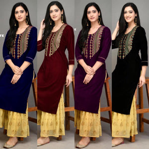 Black Velvet Embroidered New Kurti Sharara Dress Online