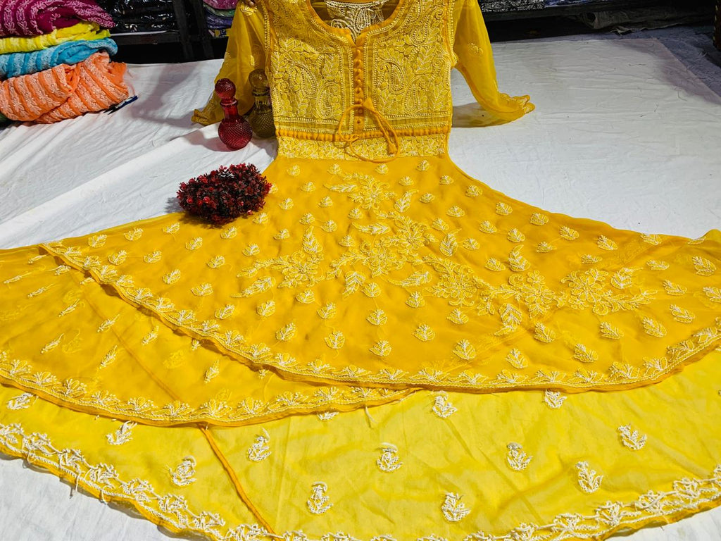 Mustard Embroidered Chikan Dual Layer Kurti Designs Online