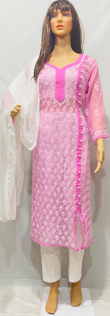 Pink Georgette Chikankari Salwar Kurta Fashion India Online