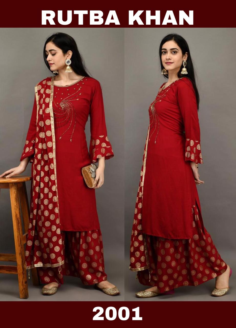Rutba Khan Red Embroidered New Kurti Sharara India Online Shopping