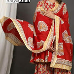 Red color Kurti Sharara Dupatta  Set with Tassels and Block Print with Beautiful Gotta Detailing