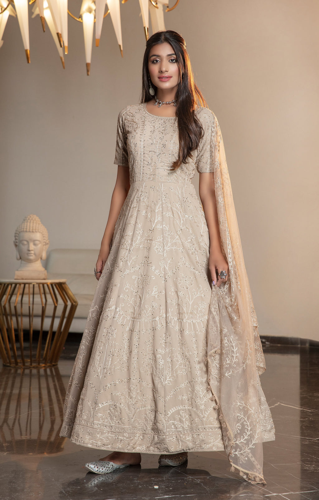 Beige Georgette Embroidered Gown Style Anarkali Dresses Online