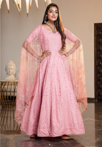 Pink Georgette Embroidered Anarkali Gown Indian Dresses Online