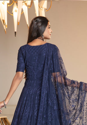 Buy Indian Suits Anarkali Embroidered In Navy Blue Georgette