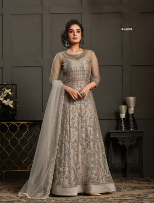 Taupe Net Resham Embroidered Anarkali Gown Style Suit