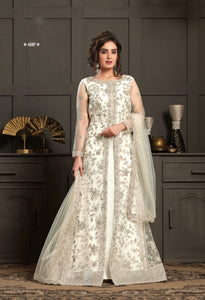 Off White Net Resham Embroidered Floor Length Salwar Suit