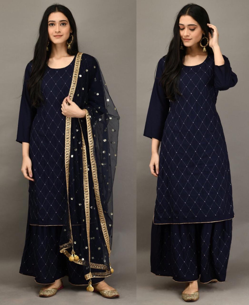 Navy Blue 3 Pc Kurti Pallazo with Embroidery work and Sequins work Dupatta