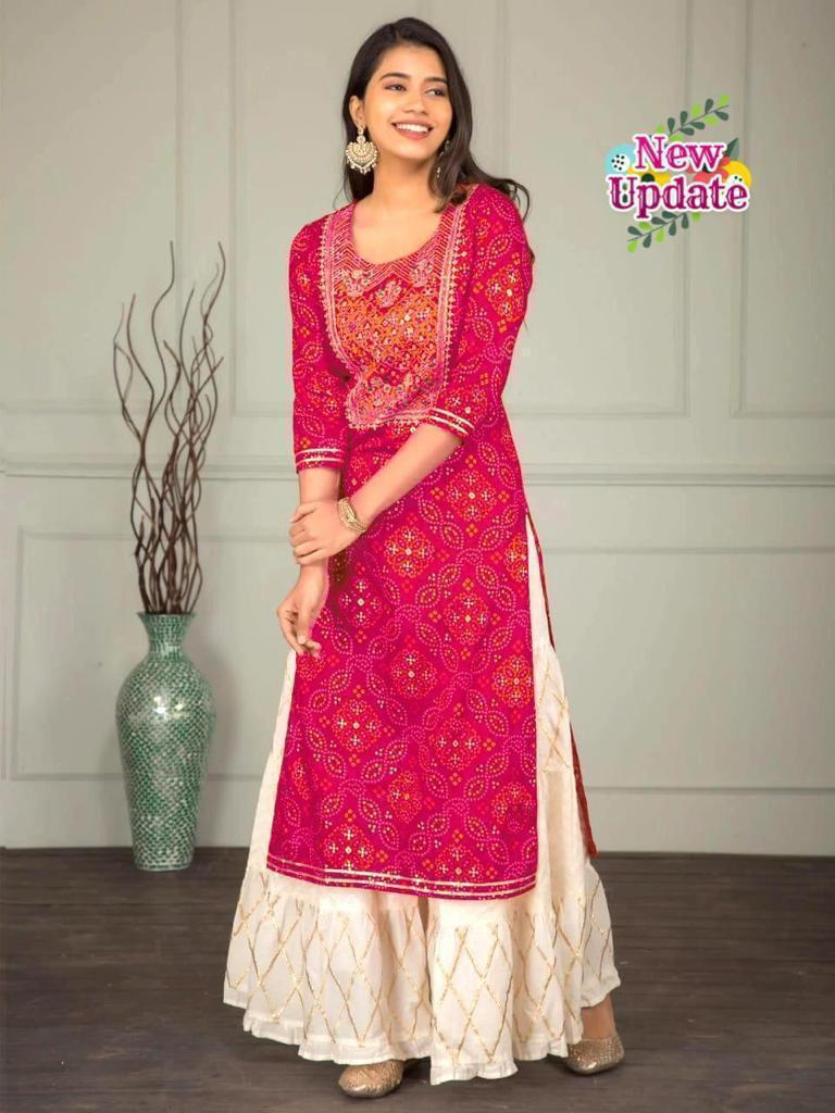 Pink Bandhej Print Latest Designs Kurti Sharara Suits Online