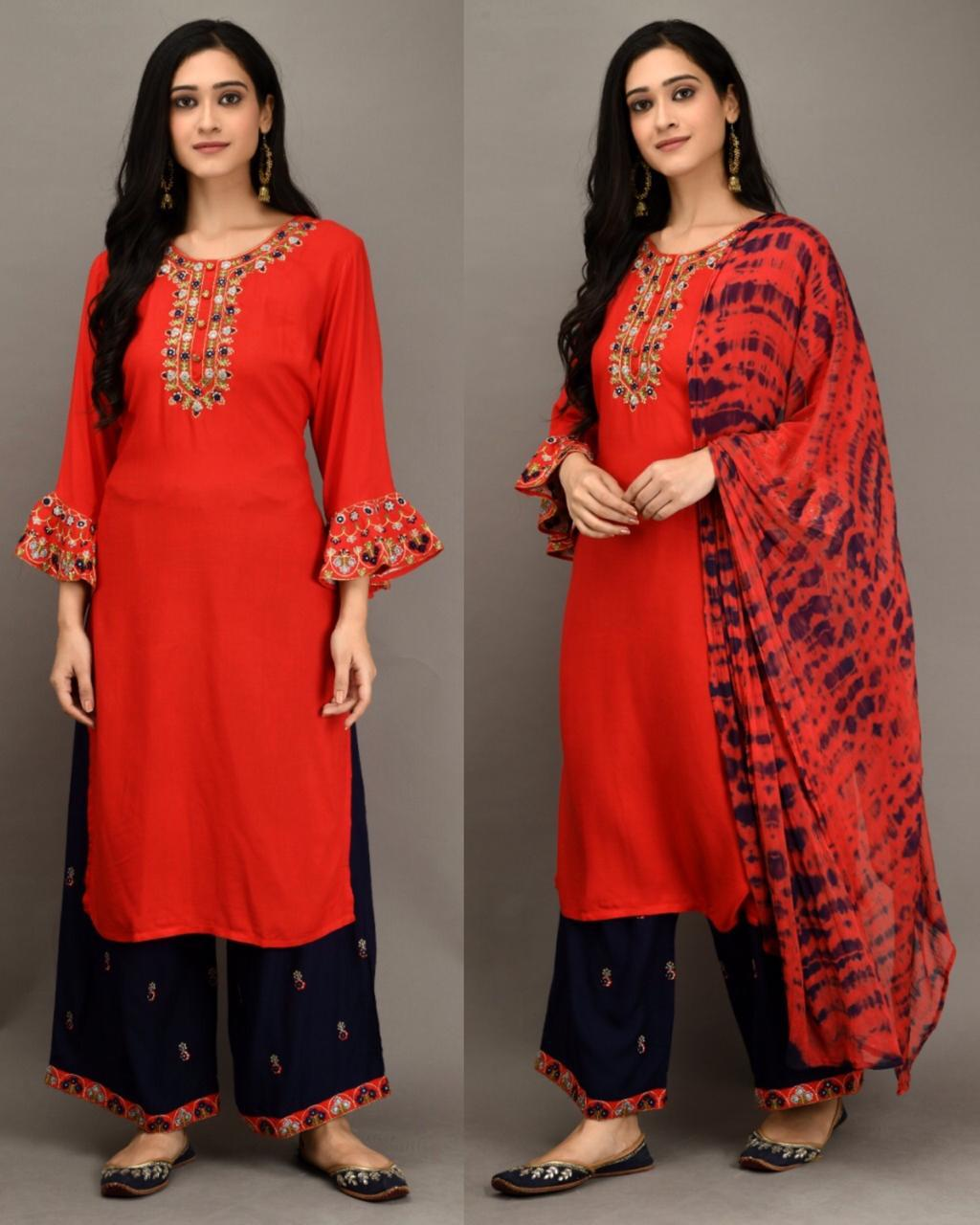 Red Cotton Bell Sleeve Kurti Palazzo Suits For Women Indian