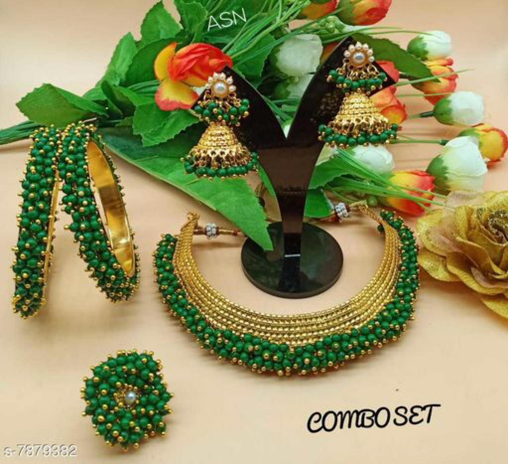 Green Indian Traditional Necklace Set Designs Online Shopping