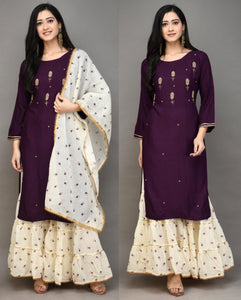 Wine Color Rayon Embroidered Kurti Palazzo Shalwar Suit