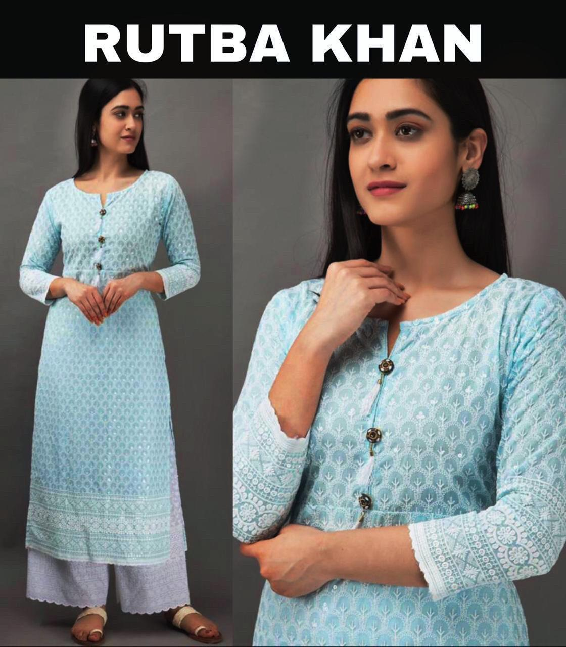 Rutba Khan Light Blue Fancy Chikankari Kurti Palazzo India Online