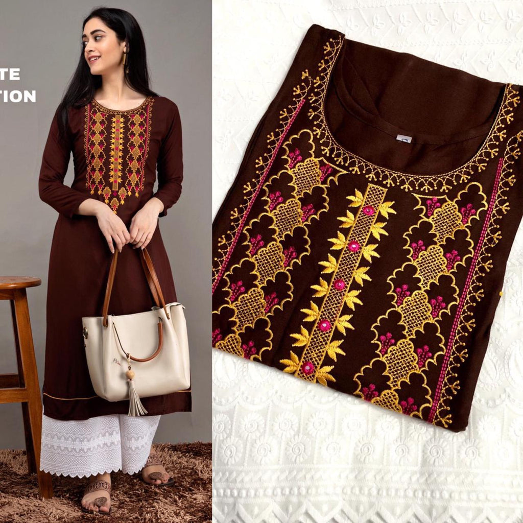 Brown Embroidered Rayon Kurti Palazzo Latest Suit Design Online