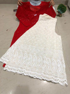 Red Chikan Kurti and Chikankari Kali Sharara Indian Suits Online