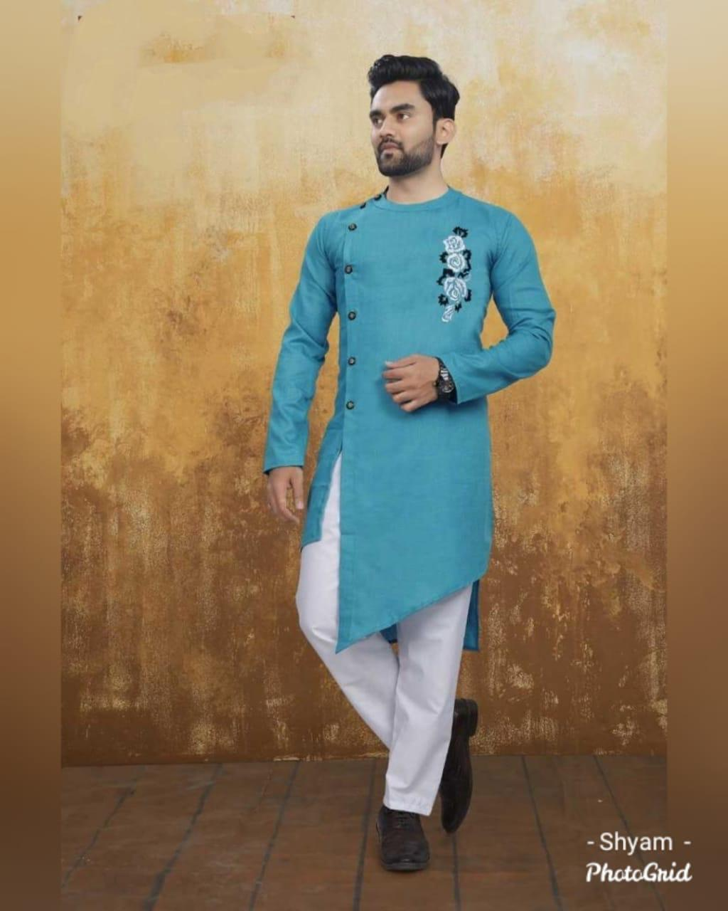 Light Teal Blue Cotton Side Button-Down Asymmetrical Men's Kurta