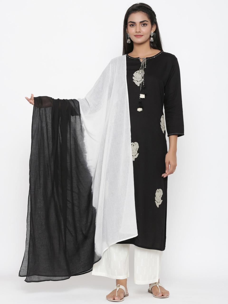 Women Black Embroidered Kurta With Pant And Dupatta