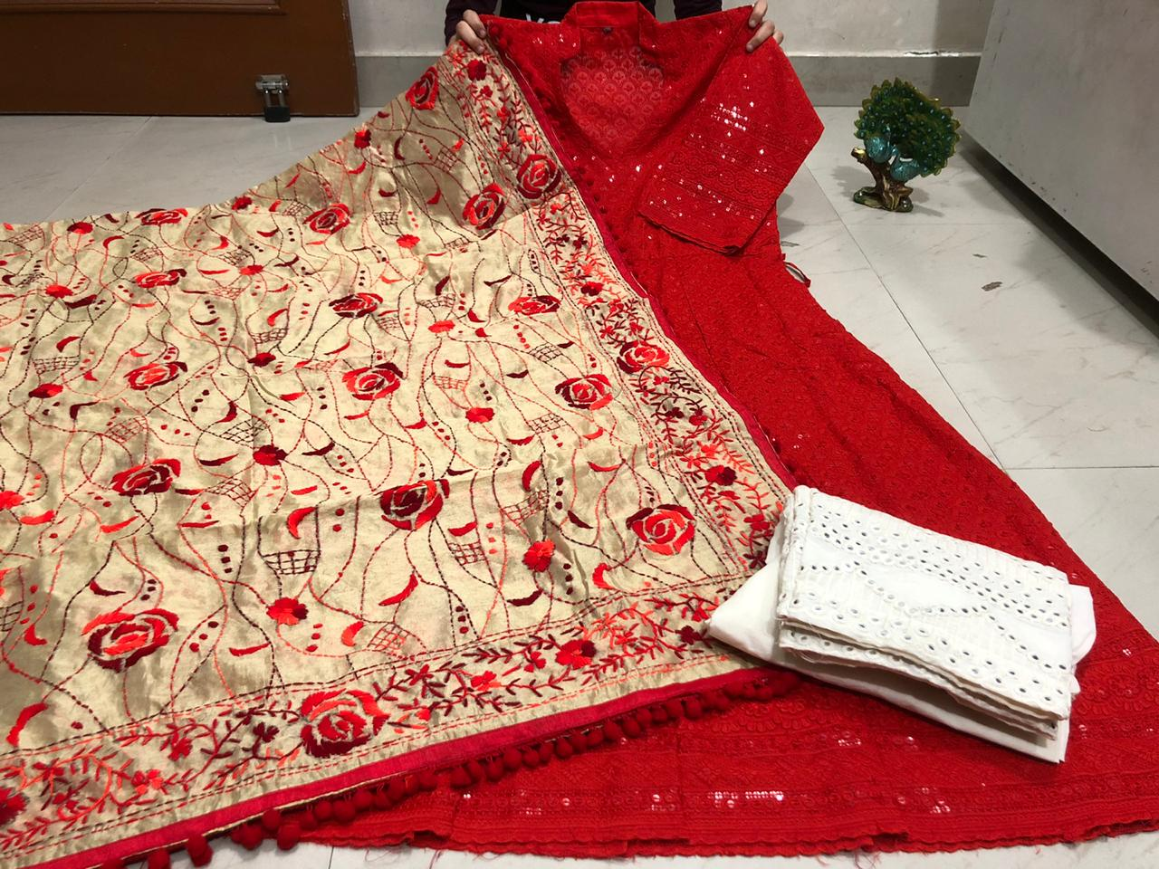 Red Chickenkari Sequins Work Anarkali Palazzo Suits