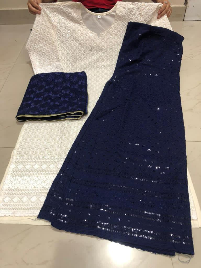 Navy Blue and Off White Cotton Chikan Kurti Indian Dress Online