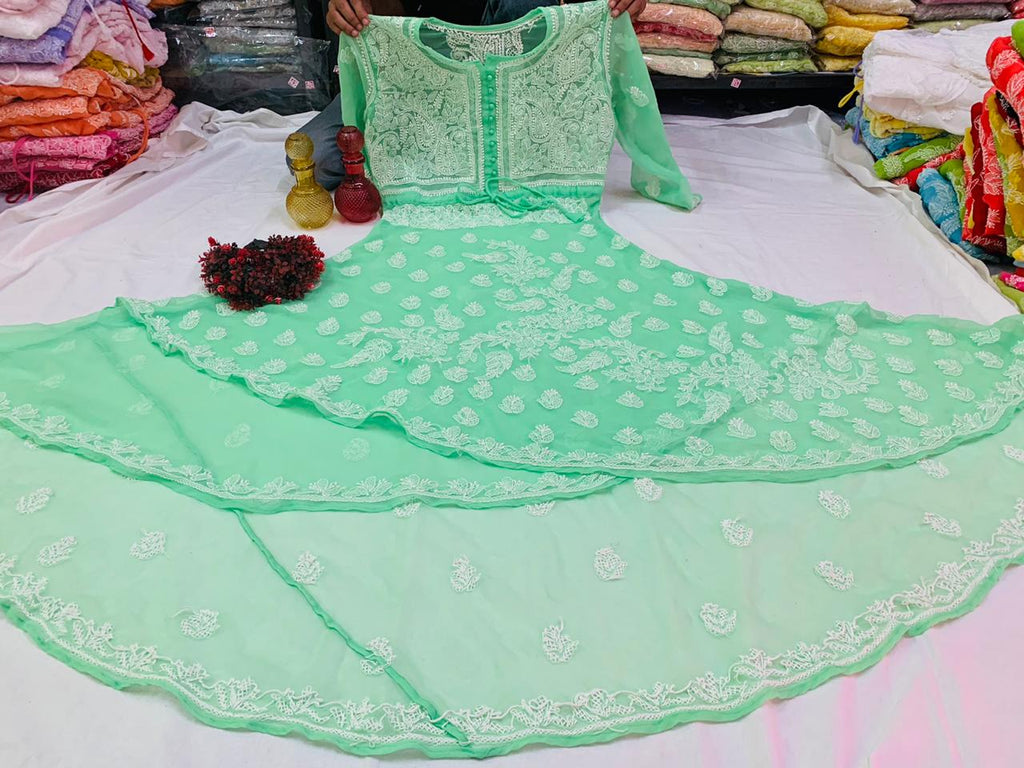 Light Green Embroidered Dual Layer Gown Long Kurtis Online