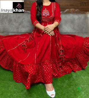 Red Cotton Latest Gown Style Anarkali Dresses Online