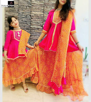 Pink Orange Cotton Peplum Top and Skirts Mother and Daughter Set