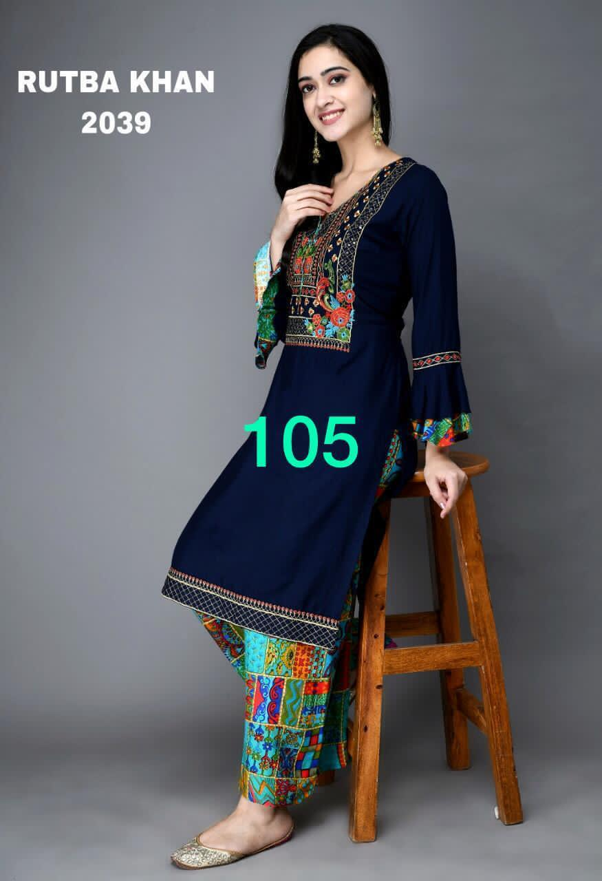 Navy Blue Rayon Embroidered New Kurti Palazzo Suit Designs Online