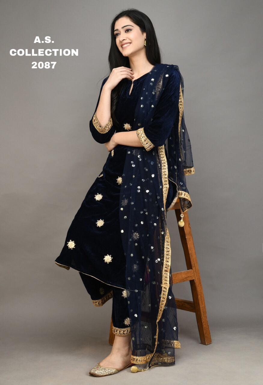 Navy Blue Gota Patti Embroidered Velvet Kurti Palazzo Suits