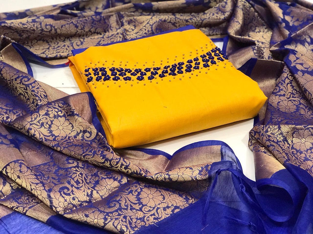 Yellow Chanderi Embroidered Indian Salwar Suits Online