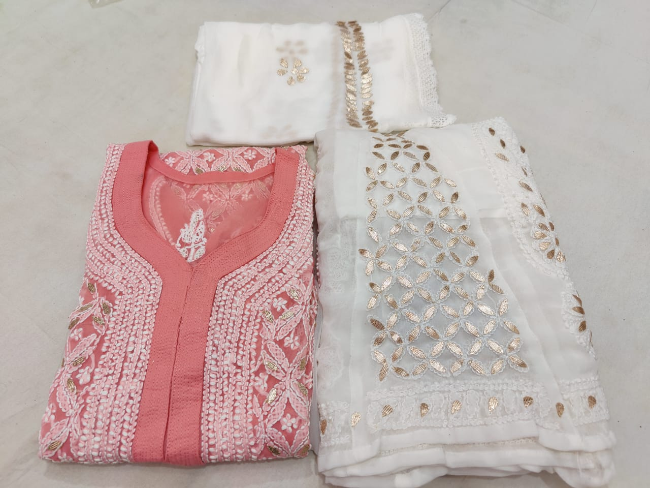 Old Rose Georgette Lucknowi Chikankari Kurti Sharara Suit